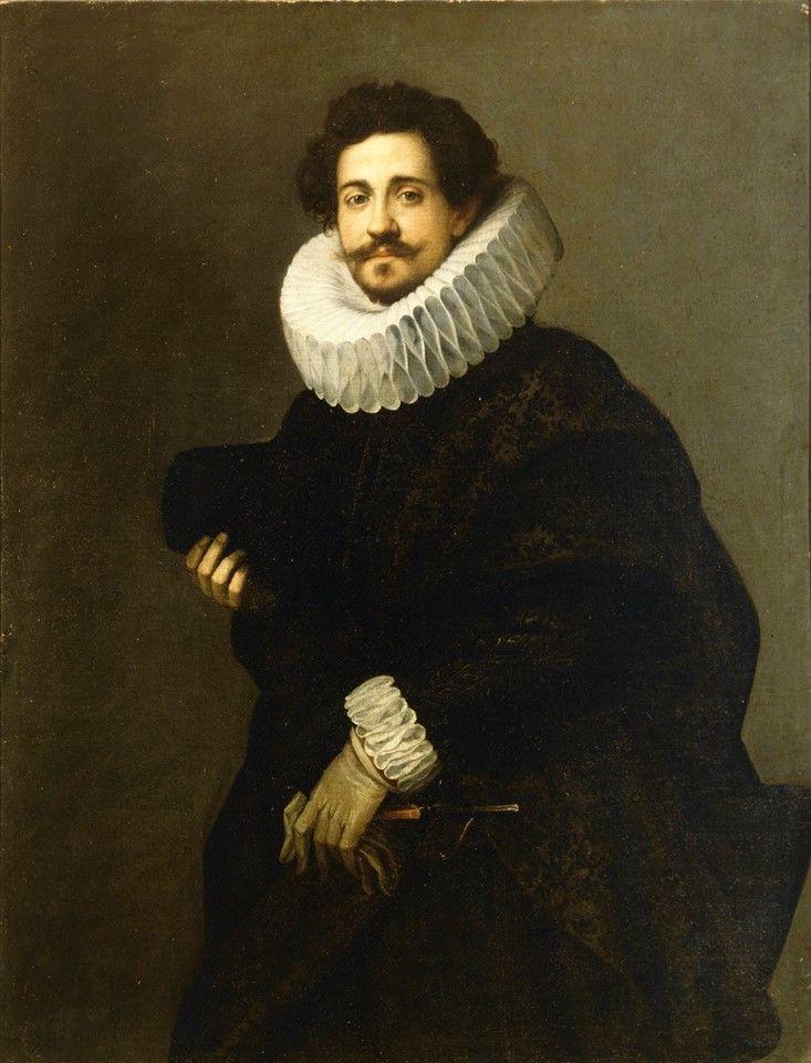 Ritratto di gentiluomo, maestro fiammingo, 1620 circa, #gorgiera, grande collare di #pizzo bianco, Accademia Carrara