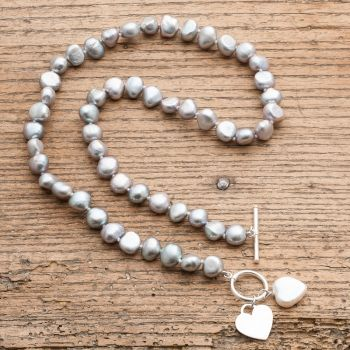 Victoria Jill Grey Pearl Necklace with Hearts