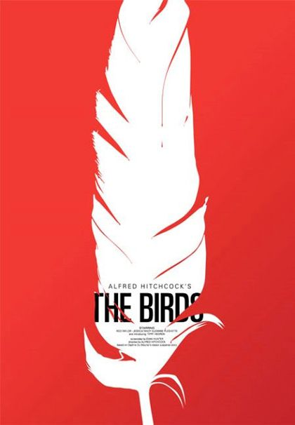 Saul Bass Poster for The Birds #graphic #design #art >> Good contrast in color and putting the type within the feather.