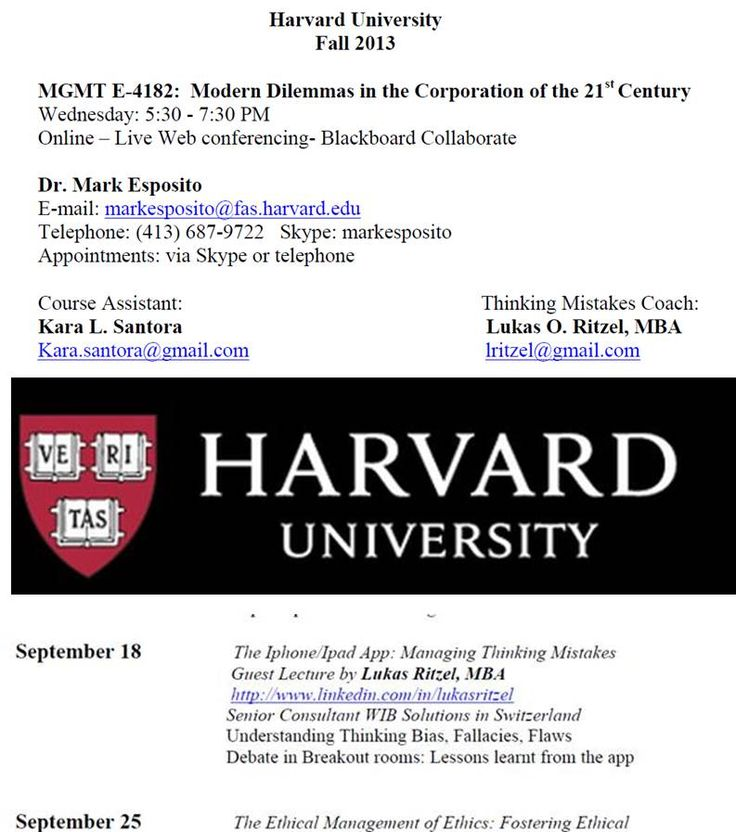 """WiB Senior Consultant Lukas Ritzel, one of the brains behind the """"management thinking mistakes app"""" has been officially announced being a coach for the Harvard Course in September on 'Modern Dilemmas in the Corporation of 21st Century"""""""