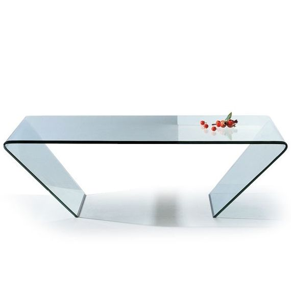 Modern Clear Bent Glass Rectangular Coffee Table Mattoni.