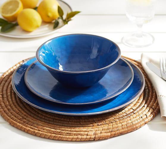 Swirl Melamine Dinnerware Blue Pottery Barn Outdoor