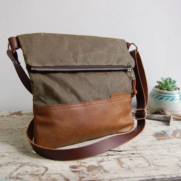 Waxed Canvas And Leather Crossbody Day Bag With Leather