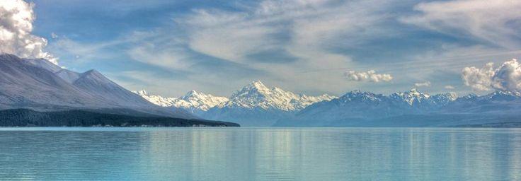Lake Pukaki, with the peak of  Aoraki / Mount Cook in the distance.