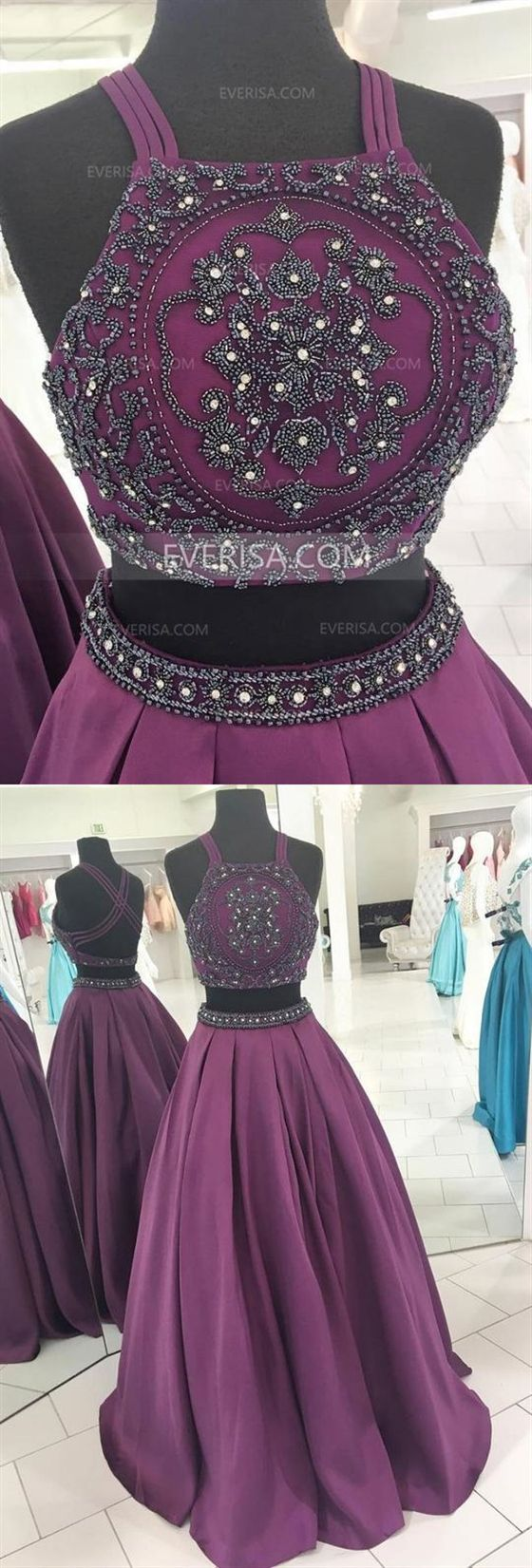 Purple Two Pieces Cross Back Beaded Prom Dresses Cheap Evening Dresses 1
