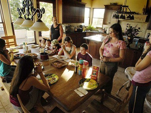 The Cimorelli Family in their house, old picture