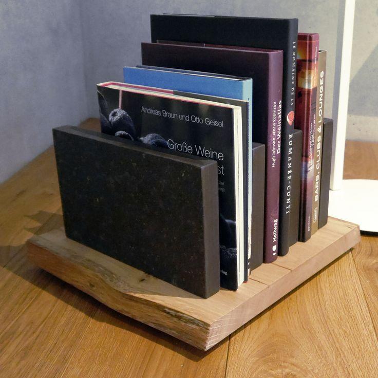 Zeitschriftenständer aus Eiche mit Granitplatten