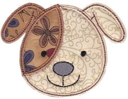 Cute Animal Face Applique, Dog - 2 Sizes! | Tags | Machine Embroidery Designs | SWAKembroidery.com Bunnycup Embroidery