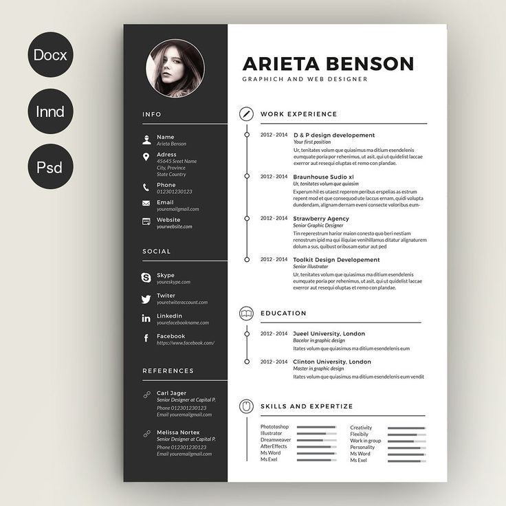 Example Of High School Resume Word Best  Infographic Resume Ideas Only On Pinterest  Resume Tips  Professional Skills To List On Resume Pdf with Resume Examples For Administrative Assistant Clean And Modern Black And White Resume And Cover Letter Template For  Microsoft Word Indesign Teen Resume Examples