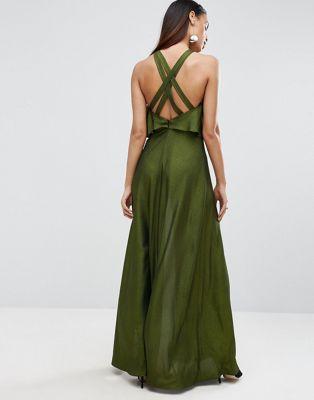 Such a divine Dress! -- largo metalizado con top corto y tiras en la espalda de ASOS