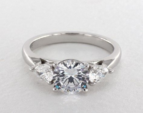 White Gold Three Stone Pear Shape Engagement Ring By Martin Flyer