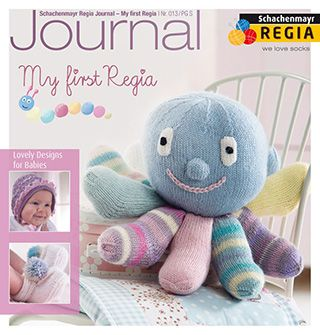 My First Regia Journal 013 from Regia More gorgeous designs for babies and toddlers up to 3 years old using My Regia plain and multi colours. Journal 013 features a knitted octopus, knitted socks and bootees, crochet bootees, and a little doll - English Yarns