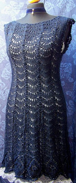 Knitted Lace dress in midnight blue #crochet