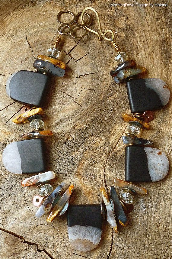 Morning Dove Design, Black, white and carmel stone, mattte quartz necklace