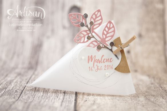 Stampin Up!  - Thinlits flowers poetry - Dreicksverpackung - Sourcream container…