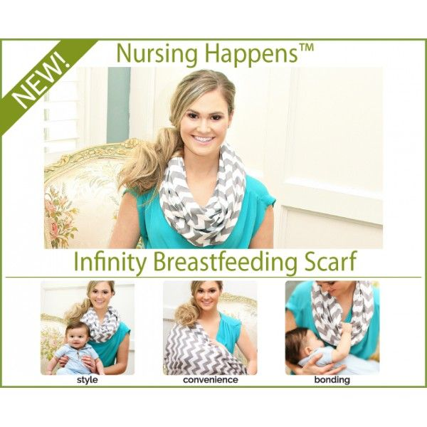 Šatka na dojčenie Nursing Happens - Charcoal Grey Chevron