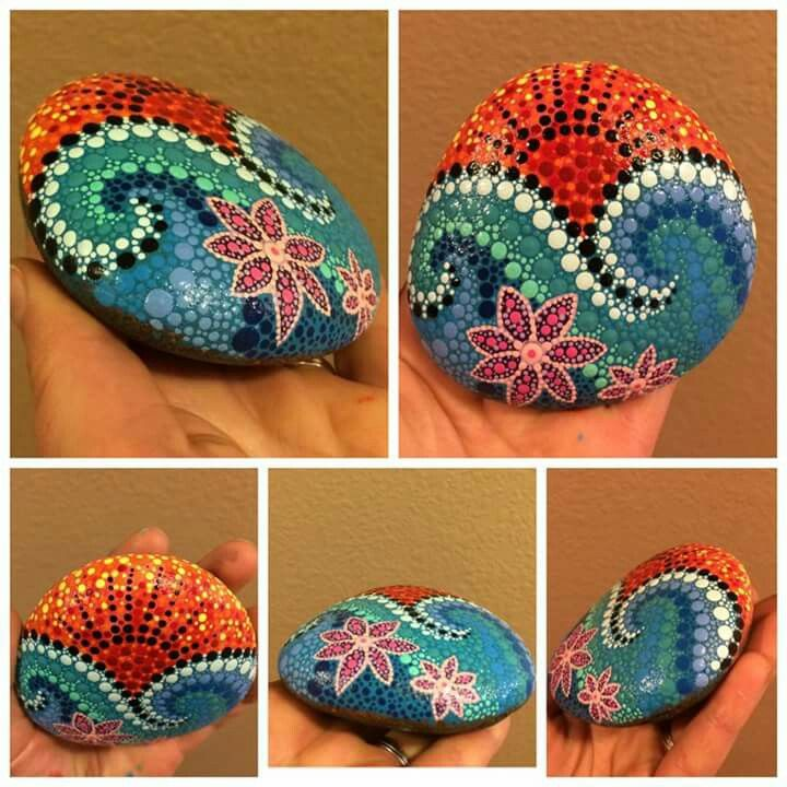 Painted Rocks with dots - ocean sunset theme