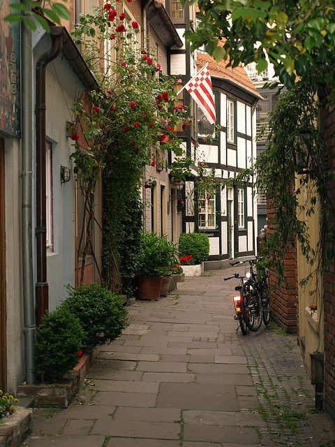 Schnoor street in the old part of Bremen, Germany