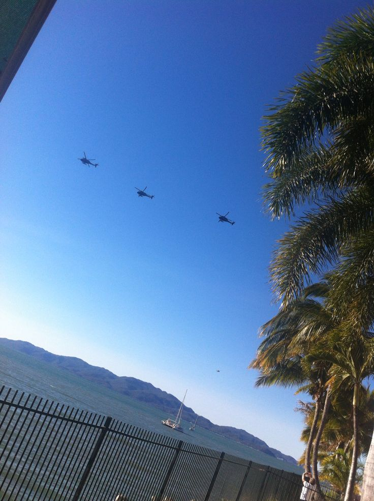 Army Helicopters - Townsville, QLD, Australia - beach, palms, ocean views