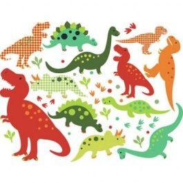 Hele stoere Dino Fun set van 12 dinosaurus muurstickers van het Engelse merk Chocovenyl. In 1 pakket zitten naast de 12 dinosaurussen ook nog een aantal takjes, stippen en blaadjes.