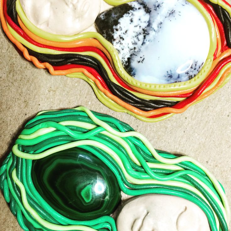Polymer clay and natural gemstone pendants... Our new Gem Queens!! #design #unique #jewellery #handmade #GGJewellery