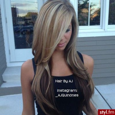 Brown hair with thick blonde highlights