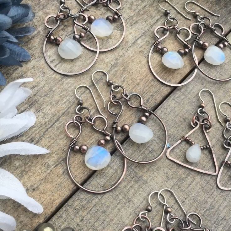 Come see my copper and silver moonstone earrings