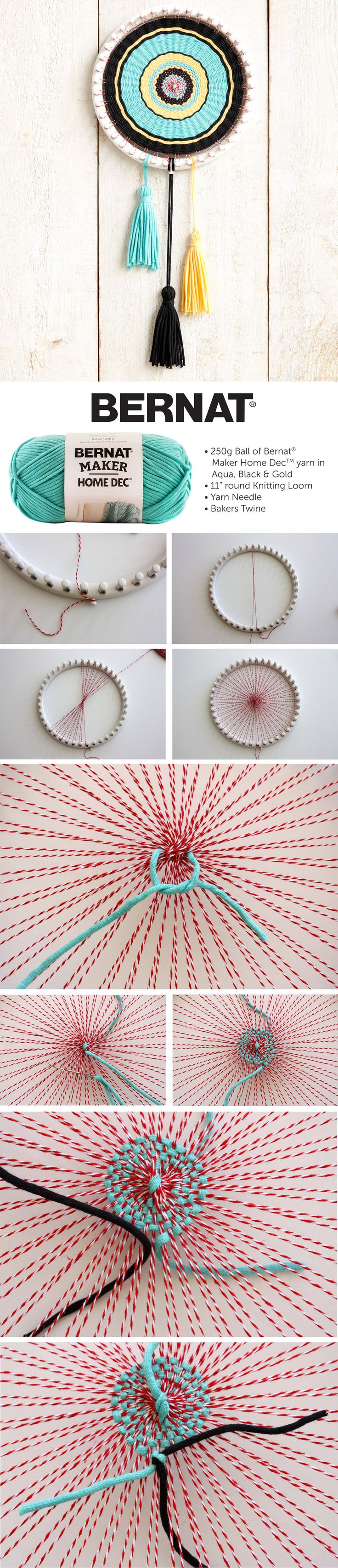 Bernat Circle Loom Weaving | Circle Loom Weaving | Bernat | Yarnspirations | Home Dec | kaleidoscopic project                                                                                                                                                                                 More