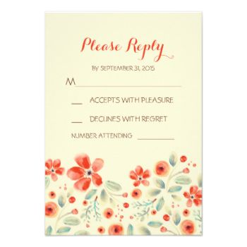 hand painted flowers modern and casual wedding reply card #painted #flowers #rsvp #floral #wedding #rsvp #modern #rsvp #watercolor #rsvp #casual #wedding #rsvp #vintage #wedding #rsvp #elegant #wedding #rsvp #cream #vanilla #coral #orange #reply #response