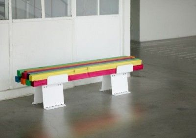 Colorful bench for Konstfack