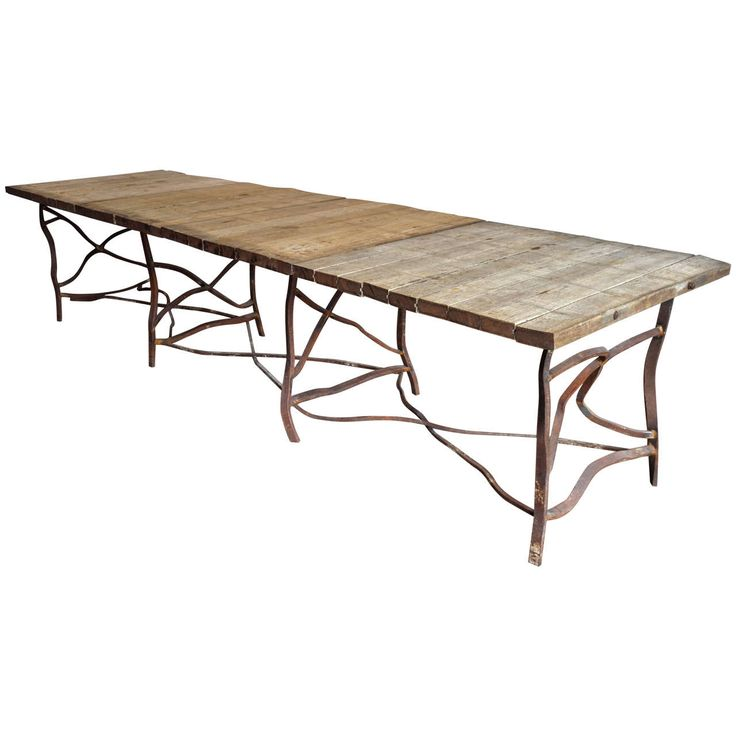 Extra long rusty base french table antiques dining for Extra small dining table