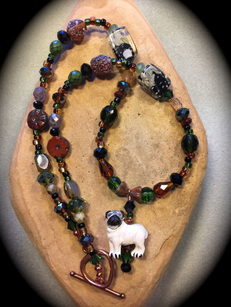 CERAMIC PUG BEADED Necklace-Peruvian Handmade Pug Bead-Each Necklace One of a Kind-Your Choice of Any Color Combination-Support Pug Rescue - pinned by pin4etsy.com