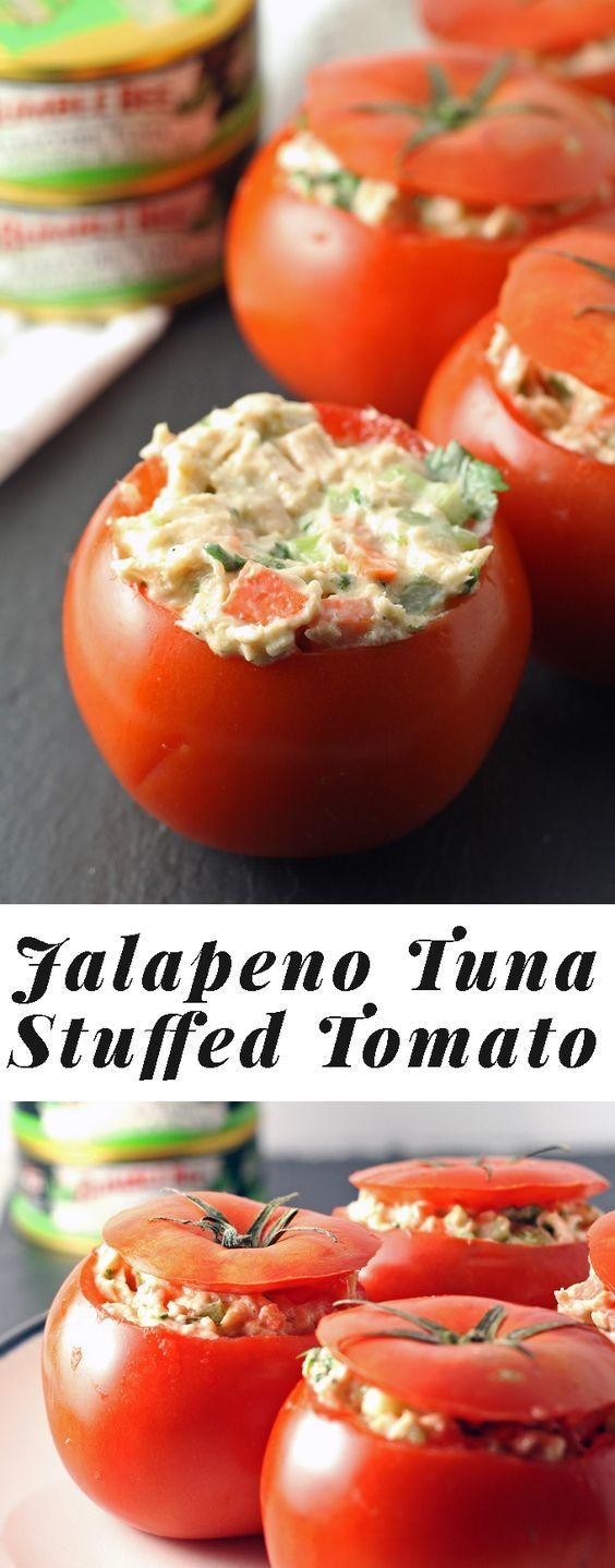 Jalapeno Tuna Stuffed Tomato Recipe - perfect for a quick lunch!   honeyandbirch.com #TunaStrong #CG