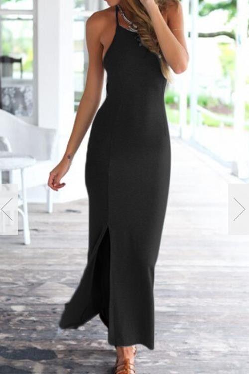 d0d2f528b7 Sleeveless Lace-up Open Back Side Split Maxi Dress in Black - US ...