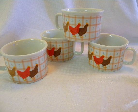 George Good soup mugs set of 4 with gingham by TreasuresFromTexas, $24.00
