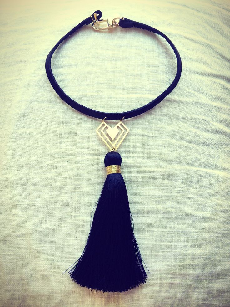 Suede+choker+with+statement+tassel+and+golden+brass+detail.  Available for re-order
