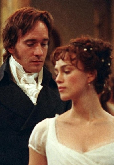 "Keira Knightley (March 26, 1985 - ) as Elizabeth Bennet and Matthew Macfadyen (October 17, 1974 - ) as Mr. Darcy and in ""Pride and Prejudice"", 2005 #actor #still"