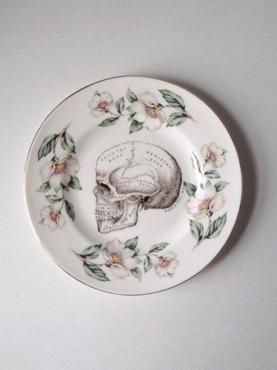 Vintage Anatomical Skull Plate Altered Art par TheLuckyFox sur Etsy, $18.00