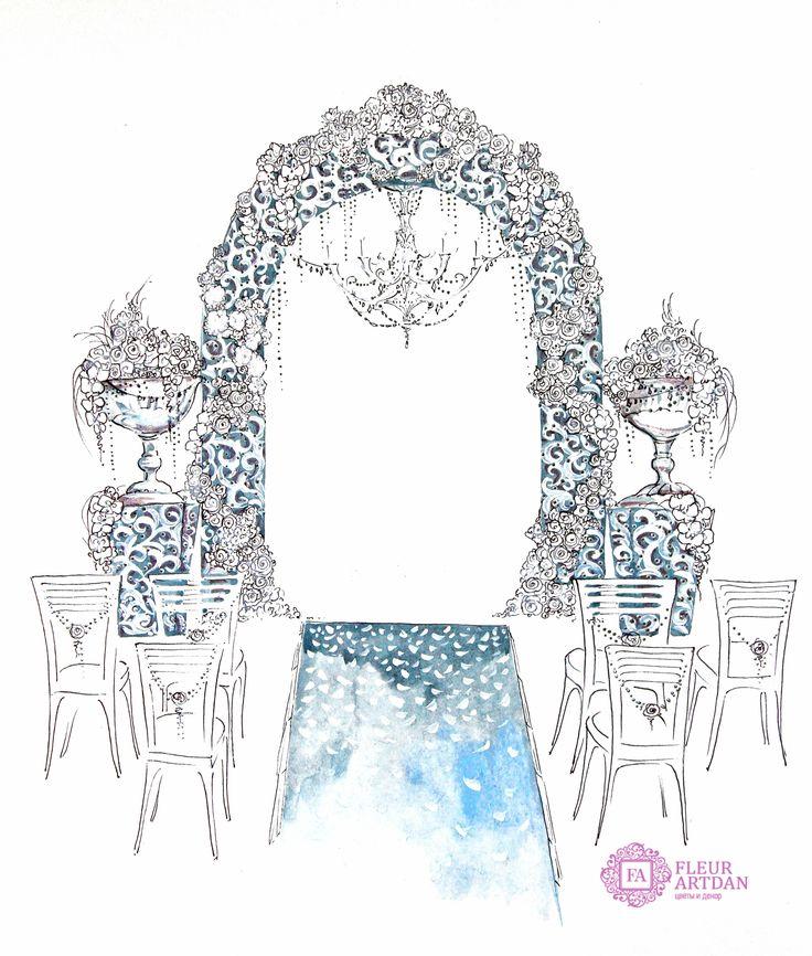 Кружева, эскизы, оформление свадьбы, декор, кружевная арка