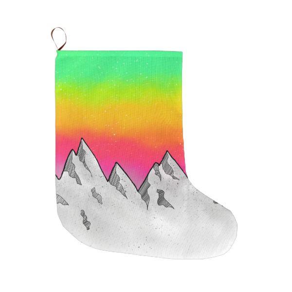 Mountain Scene Landscape Large Christmas Stocking #stocking #christmas #sock #xmas