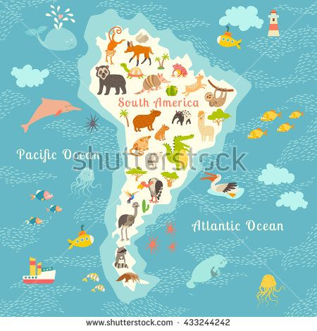 7 best world map images on pinterest world maps continents and animals world map south america south american animals poster south america mammals cartoon gumiabroncs Images
