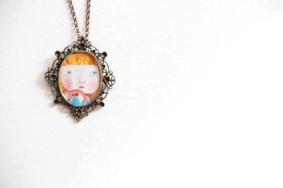Vintage necklace painting necklace Cute girl by NataliesWunderland