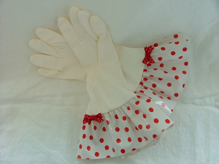 Plain Jane Red Polka Dot Oilcloth Gloves - Latex Free - Not Just for Cleaning (Size Med). 12.00, via Etsy.