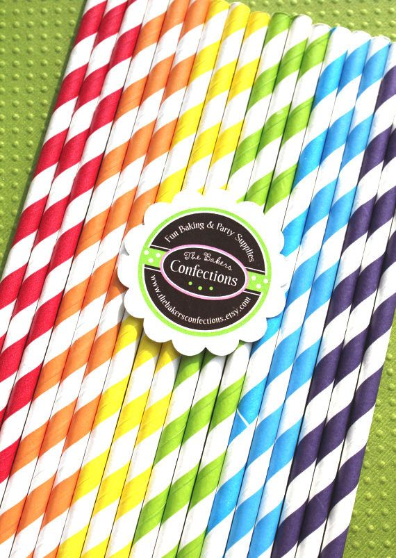 BOYS Rainbow Stripe Paper Straws  Includes by thebakersconfections, $5.00