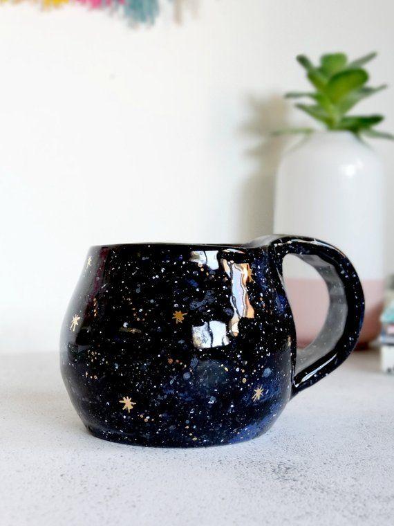 Galaxy Mug 22k Gold Starry Night Sky Mug Celestial Coffee Etsy Handmade Ceramics Modern Mugs Mugs