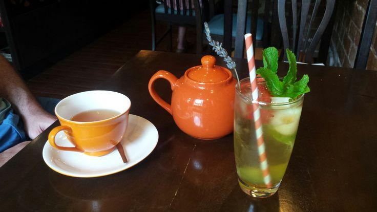 Lychee & Lavender Iced Tea & a pot of Raspberry Popcorn Black Tea