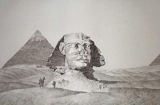"""The great Sphinx of Giza  from """"la Description de l'Egypte"""".: Constructions Anciennes, Bâtisseur, Construction Ancienn"""