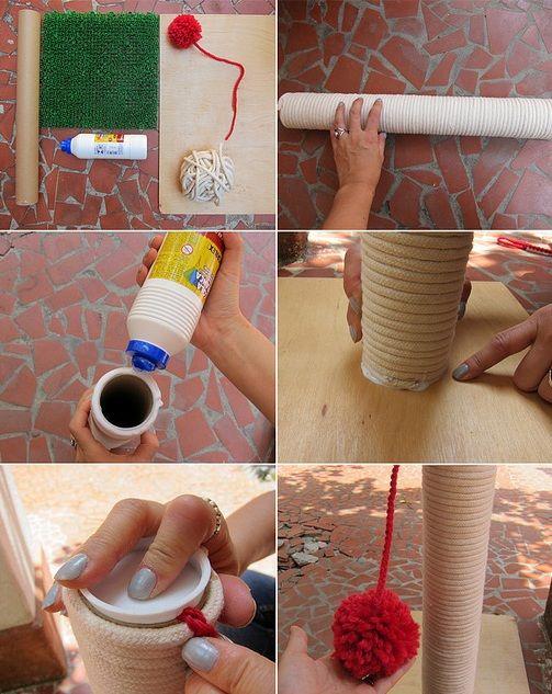 Dicas para gateiros: Como fazer 2 arranhadores diferentes: um de tricô com corda para parede e outro com MDF para o chão