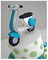 Vespa theme Christening Birthday Cake