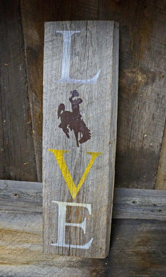 Wyoming Cowboys University of Wyoming UW LOVE Barwood Sign